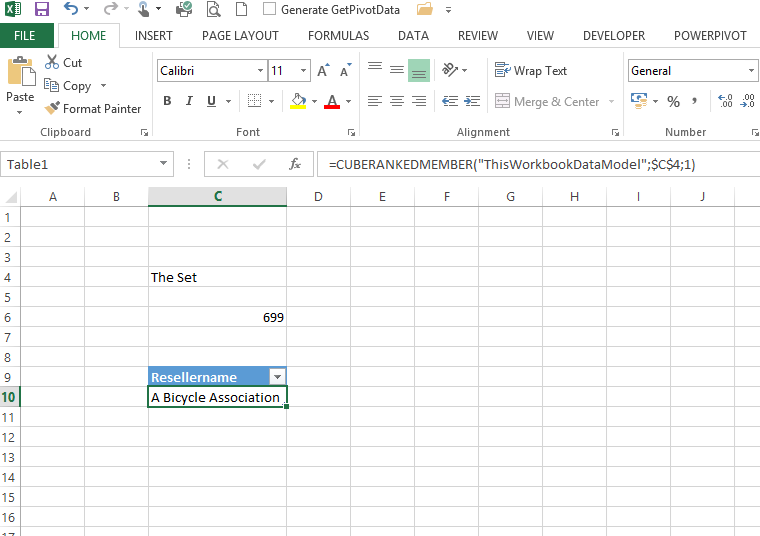 Create a dynamic table from powerpivot data in Excel 2013