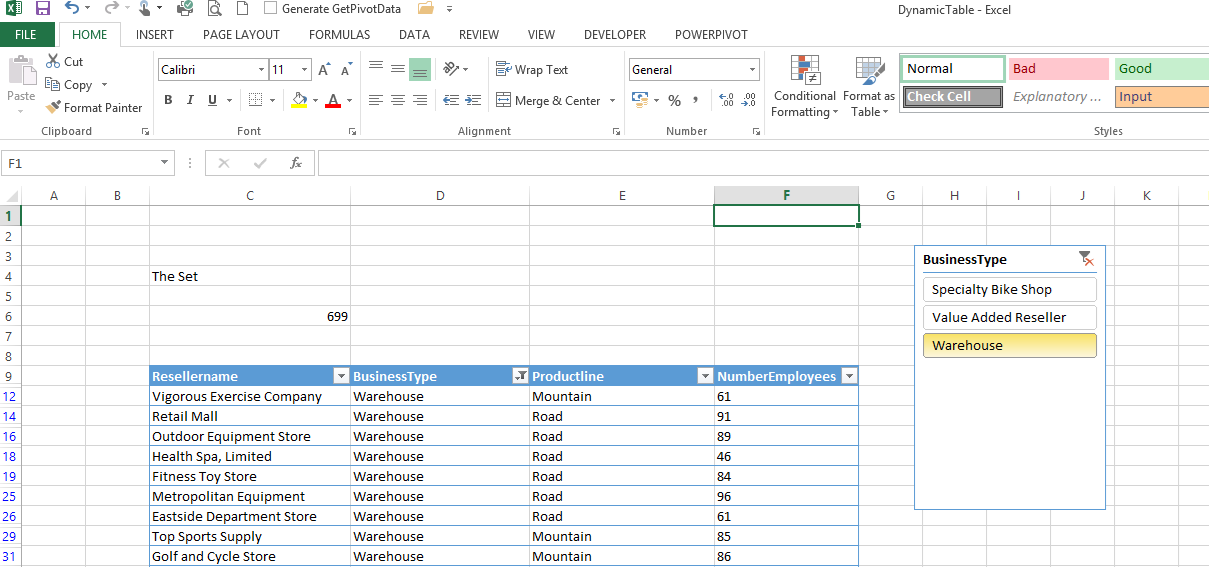 Create a dynamic table from powerpivot data in Excel 2013 without