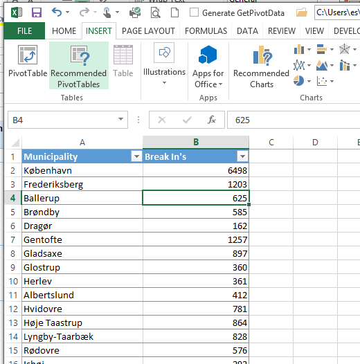 Using Bing Map App for Excel 2013 to plot break-ins in Denmark ...