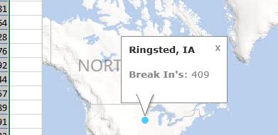 Using Bing Map App for Excel 2013 to plot breakins in Denmark