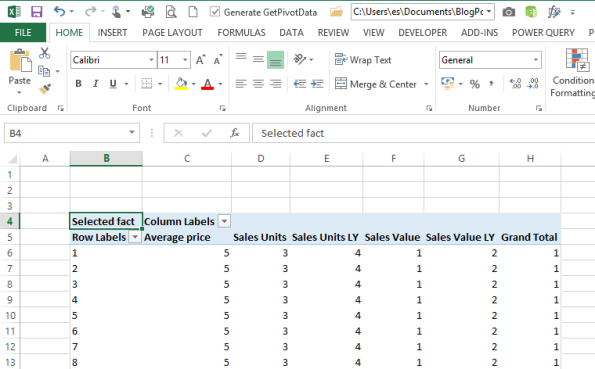 how to create dynamic headings in pivot chart