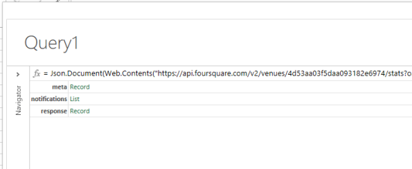 the foursquare api will be return as a json document and we can browse through the response using the navigator