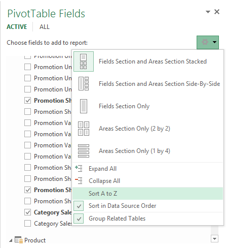 Sort the Power Pivot measures (and fields) in the PivotTable