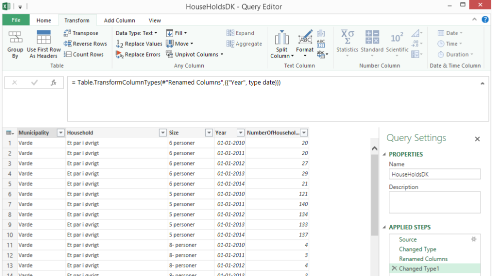 How to change a year column into a date in Power Query