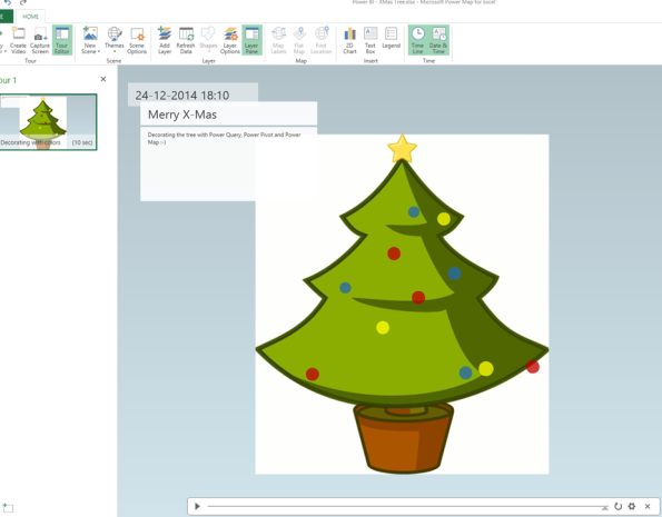 Decorating the X mas tree using Power Query, Power Pivot and Power Map #PowerBI