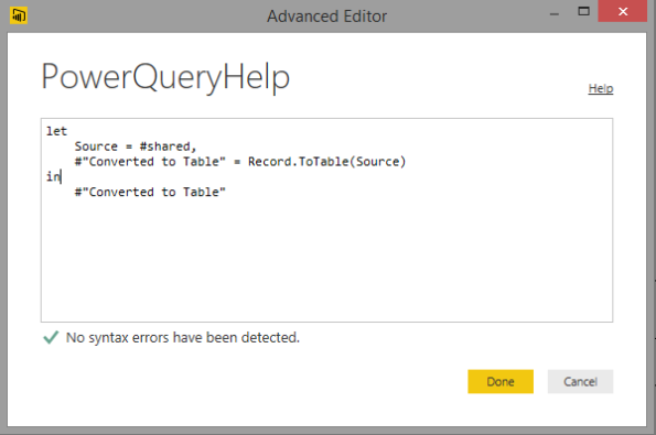 Create your own Help for all the Power query functions help in Power BI Desktop