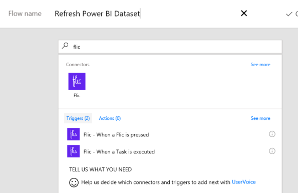 Updating a #PowerBI dataset using Microsoft #Flow, #Azure Functions and a #Flic button