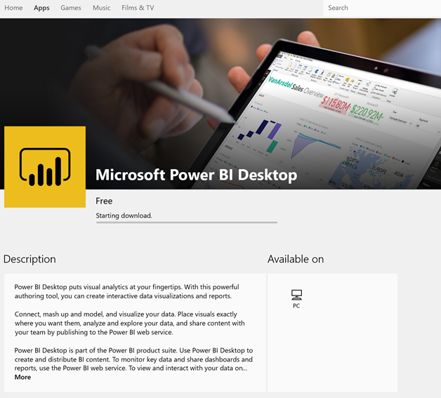 Installing the #PowerBI Desktop from the Windows Store – with a few