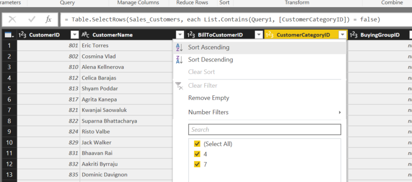 PowerQuery – Filter a table based on another table column or