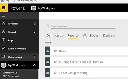 Change the order of reports in the #powerbi service