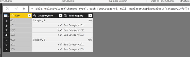 PowerQuery – Replace Values in one column with the value in