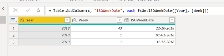 #PowerQuery – Calculate the ISO date from year and a week number