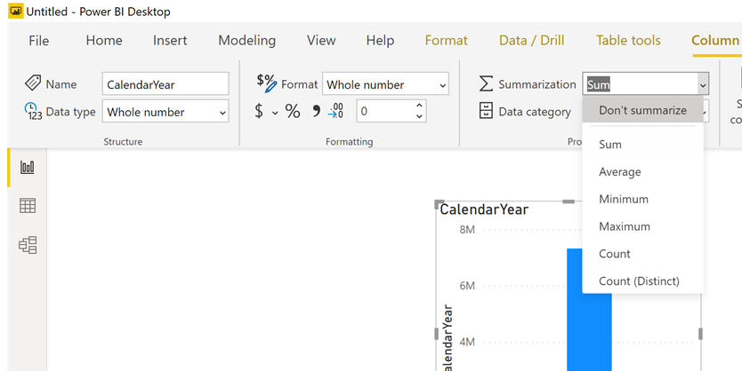 #PowerBI – A quicker way to set Summarize to none for all your fields in your date dimension (or others)